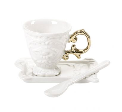 I-Wares I-Coffee Set with Cup, Saucer and Spoon Gold Ø 7 cm - H. 7 cm