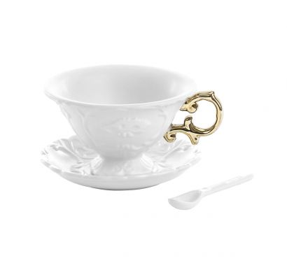 I-Wares I-Tea Set with Cup, Saucer and Spoon Gold Ø 13 cm - H. 7,5 cm