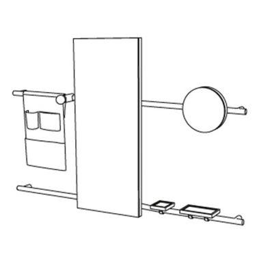 Siwa - Composition Miroir Rectangulaire - Sac Accessoires en cuir + étagères