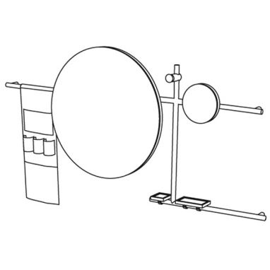 Siwa - Round Mirror Composition - with Leather Accessories Bag + Shelves