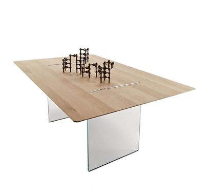 Tavolante Table - Aged Oak/Transparent Base